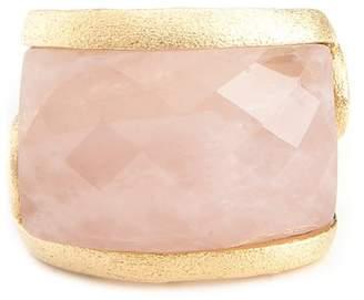 Rivka Friedman East-West Rose Quartz Side Scroll Design Ring