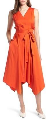 Halogen Sleeveless Poplin Tie Waist Midi Dress (Regular & Petite)