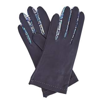 Gizelle Renee - Philomena Womens Navy Leather Gloves With BC Liberty Tana Lawn