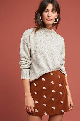 Rachel Antonoff Embroidered Velvet Mini Skirt