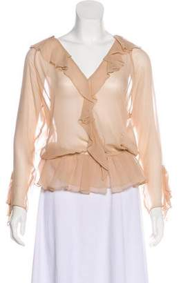 Haute Hippie Silk Long-Sleeve Blouse