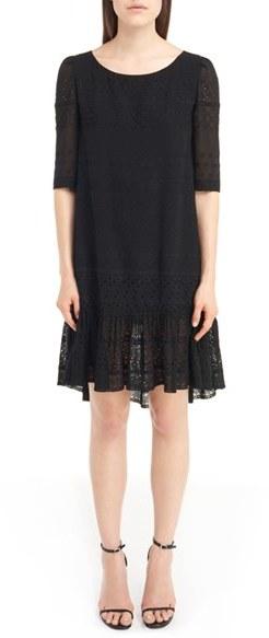 Saint LaurentWomen's Saint Laurent Eyelet Lace Georgette Babydoll Dress