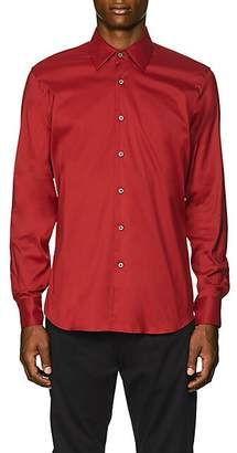 Prada Men's Stretch Cotton-Blend Poplin Slim Shirt - Red