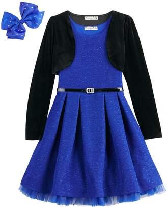 Knitworks Knit Works Girls 7-16 & Plus Size Glitter Skater Dress & Velvet Shrug Set with Hair Bow & Belt