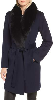 Fleurette Genuine Fox Fur Shawl Collar Wool Coat