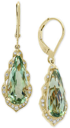 Effy Prasiolite (5-9/10 ct. t.w.) & Diamond (1/6 ct. t.w.) Drop Earrings in 14k Gold