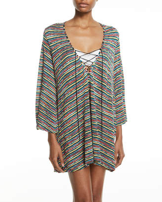 Missoni Mare Striped Lace-Up Caftan Coverup