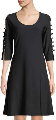 Love Scarlett Buttoned 3/4-Ladder Sleeve A-Line Dress