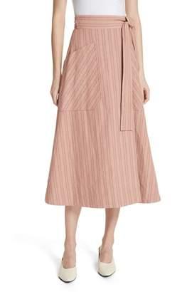 Rebecca Taylor Stripe Wrap Midi Skirt