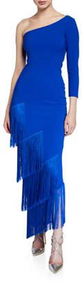 Chiara Boni Pippi One-Shoulder Asymmetric Fringe-Trim Dress