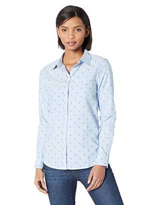 Amazon Essentials Women's Long-Sleeve Classic-Fit Patterned Oxford Shirt