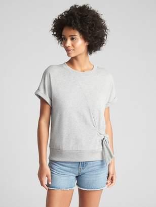 Gap Short Sleeve Tie-Waist Pullover Sweatshirt in French Terry