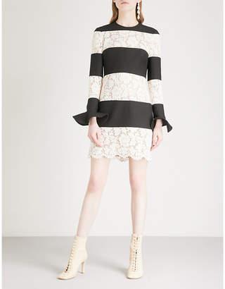 Valentino Striped lace-panel wool and silk-blend mini dress