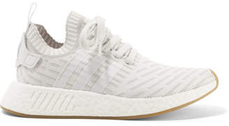 adidas Nmd_r2 Leather-trimmed Primeknit Sneakers - White