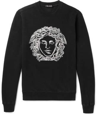 Versace Embroidered Cotton-Blend Jersey Sweatshirt - Black