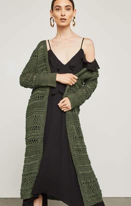 BCBGMAXAZRIA Open-Stitch Long Cardigan