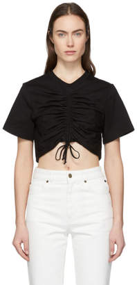 Edit Black Crop Ruched Front T-Shirt
