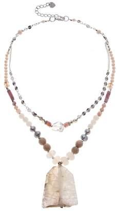 Nakamol Design Quartz & Agate 2 Layer Statement Necklace