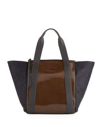 Brunello Cucinelli Patent and Metallic Leather Tote Bag