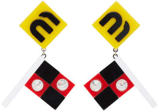 Miu Miu Yellow Flag Crystal Earrings