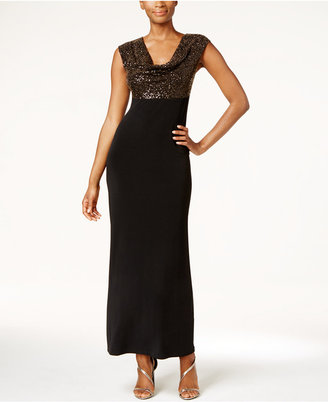 Connected Metallic Cowl-Neck Gown $89 thestylecure.com