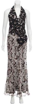 Carmen Marc Valvo Silk Embroidered Dress
