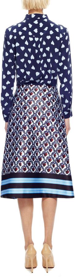 Equipment Signature Heart-Print Washed-Silk Shirt