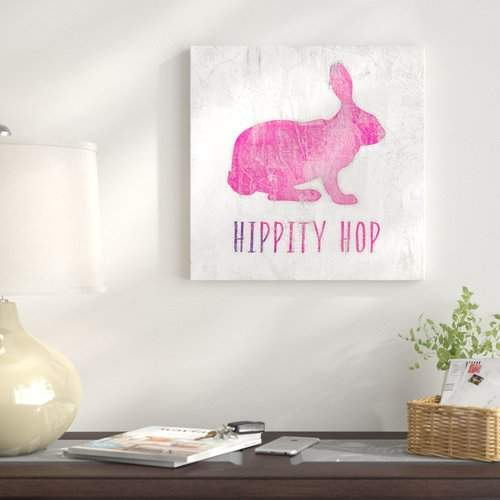The Holiday Aisle 'Hippity Hop Pink Easter Rabbit' Graphic Art Print on Wrapped Canvas