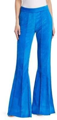 Rosie Assoulin Pleated Velvet Flare Pants