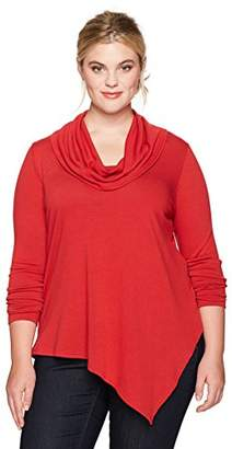 Karen Kane Women's Plus Size Cowl Neck Angled Hem Sweater