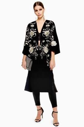 Topshop Longline Velvet Kimono