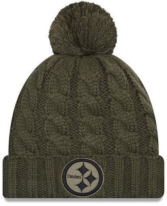 New Era Women's Pittsburgh Steelers Salute To Service Pom Knit Hat