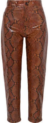 ATTICO Snake-effect Leather Tapered Pants - Brown