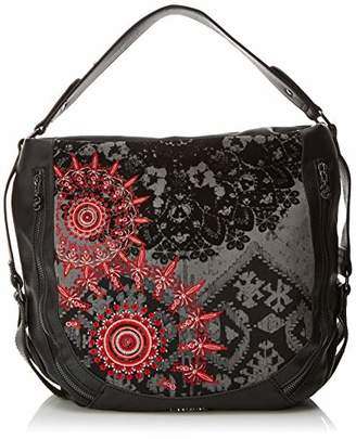 Desigual Bols_red Queen Marteta, Women's Shoulder Bag, Black (Negro), 16x34x40 cm (B x H T)