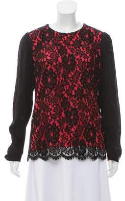Milly Lace-Paneled Long Sleeve Top
