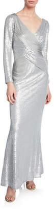 Tadashi Shoji Sequin Jersey V-Neck Long-Sleeve Gown w/ Pintuck Detail