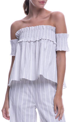 ENGLISH FACTORY Smocked Off-The-Shoulder Babydoll Top