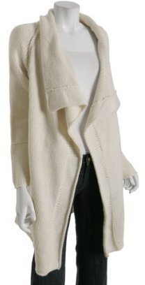 Inhabit ivory cashmere shawl collar long cardigan