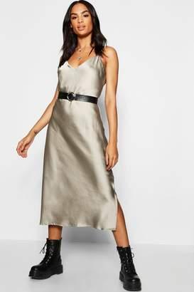 boohoo Tall Satin Slip Dress