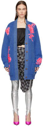 Christopher Kane Blue Flower Embroidery Cardigan