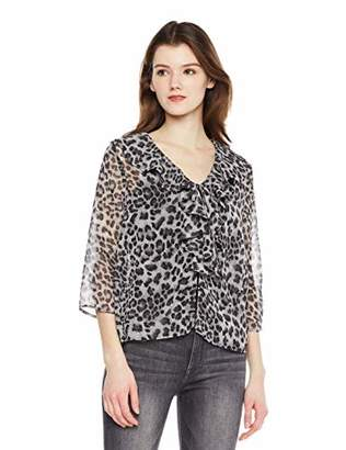 204330c1126ff Beautiful Nomad Women Ruffle V Neck Chiffon Blouse with Floral Print