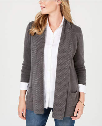 Karen Scott Textured Open-Front Cardigan, Created for Macy's