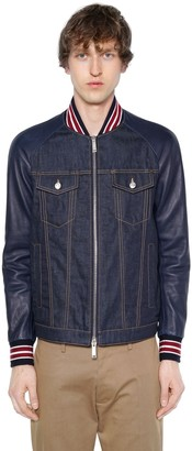 DSQUARED2 Denim Bomber Jacket W/ Leather Sleeves