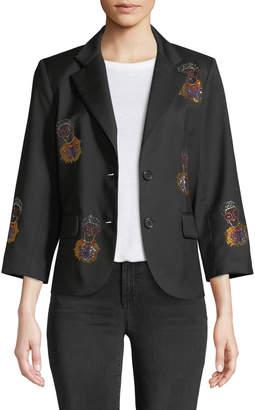 Libertine Iris Apfel Portrait Single-Breasted Wool Blazer