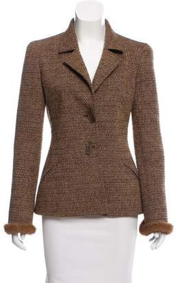 Valentino Fur-Trimmed Wool-Blend Blazer