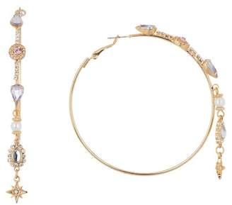 Free Press Ornate Crystal & Synthetic Pearl Hoop Earrings