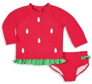 Florence Eiseman Baby Girl's& Little Girl's Two-Piece Top& Briefs Strawberry Rashguard Set