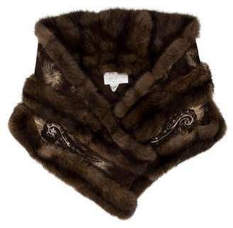 Fur Suede Sable Fur-Trimmed Scarf