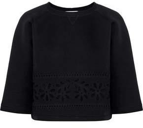 RED Valentino Cropped Laser-cut Cotton-neoprene Sweatshirt