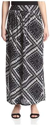James & Erin Women's High Slit Printed Skirt